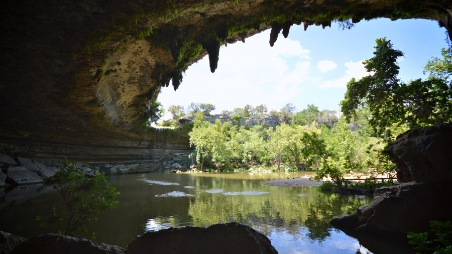 Inside the grotto at Hamilton Pool