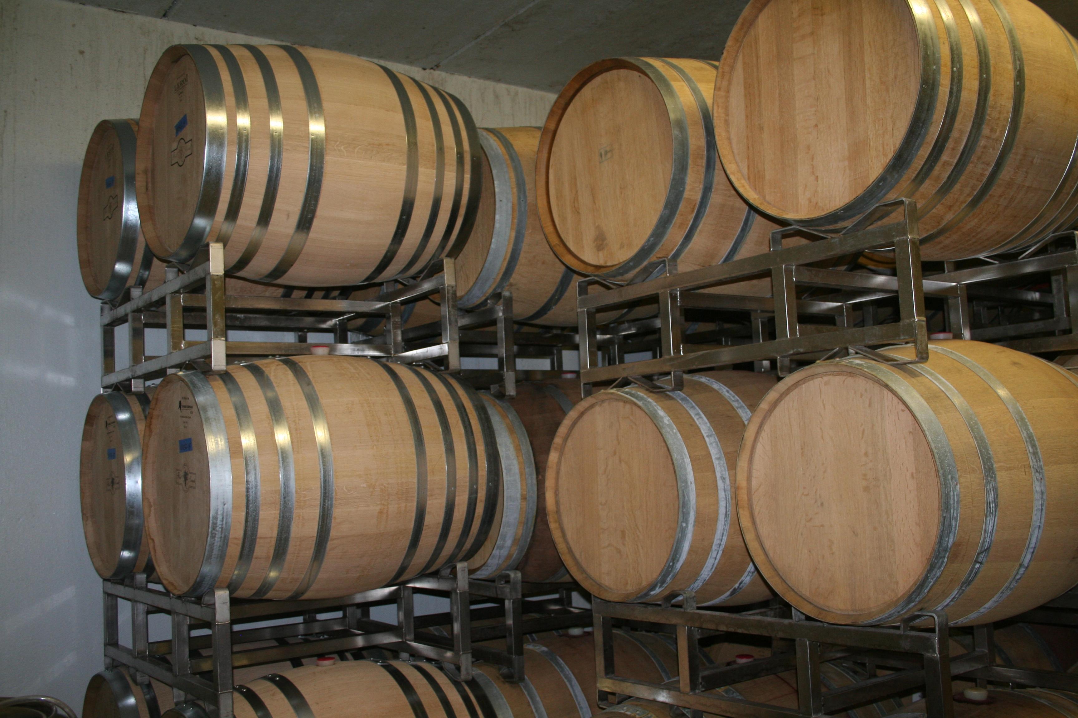 The barrel room at Flat Creek Estate