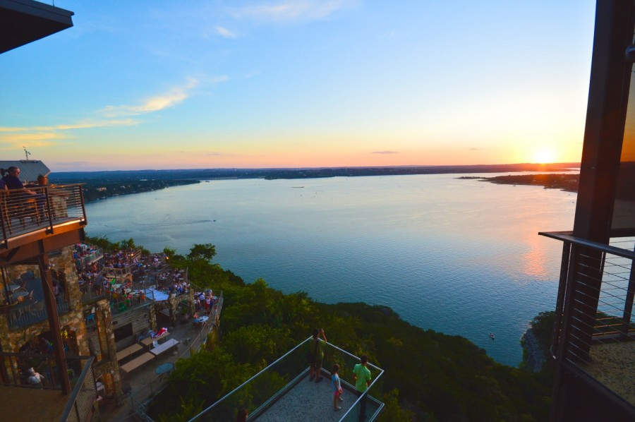 The sunset at The Oasis on Lake Travis